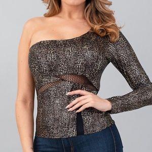 Black Gold Asymmetrical One Sleeve Blouse Top